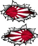Small handed Oval Ripped Pair Metal Design With JDM Japan R/Sun Flag Vinyl Car Sticker 85x50mm Each